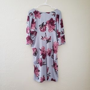 Lilac Clothing Dresses - Maternity Floral Batwing Midi Dress XL